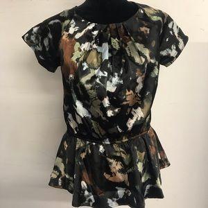 Pleione floral peplum blouse